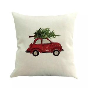 Vintage VW Beetle Christmas Burlap Throw Pillow I